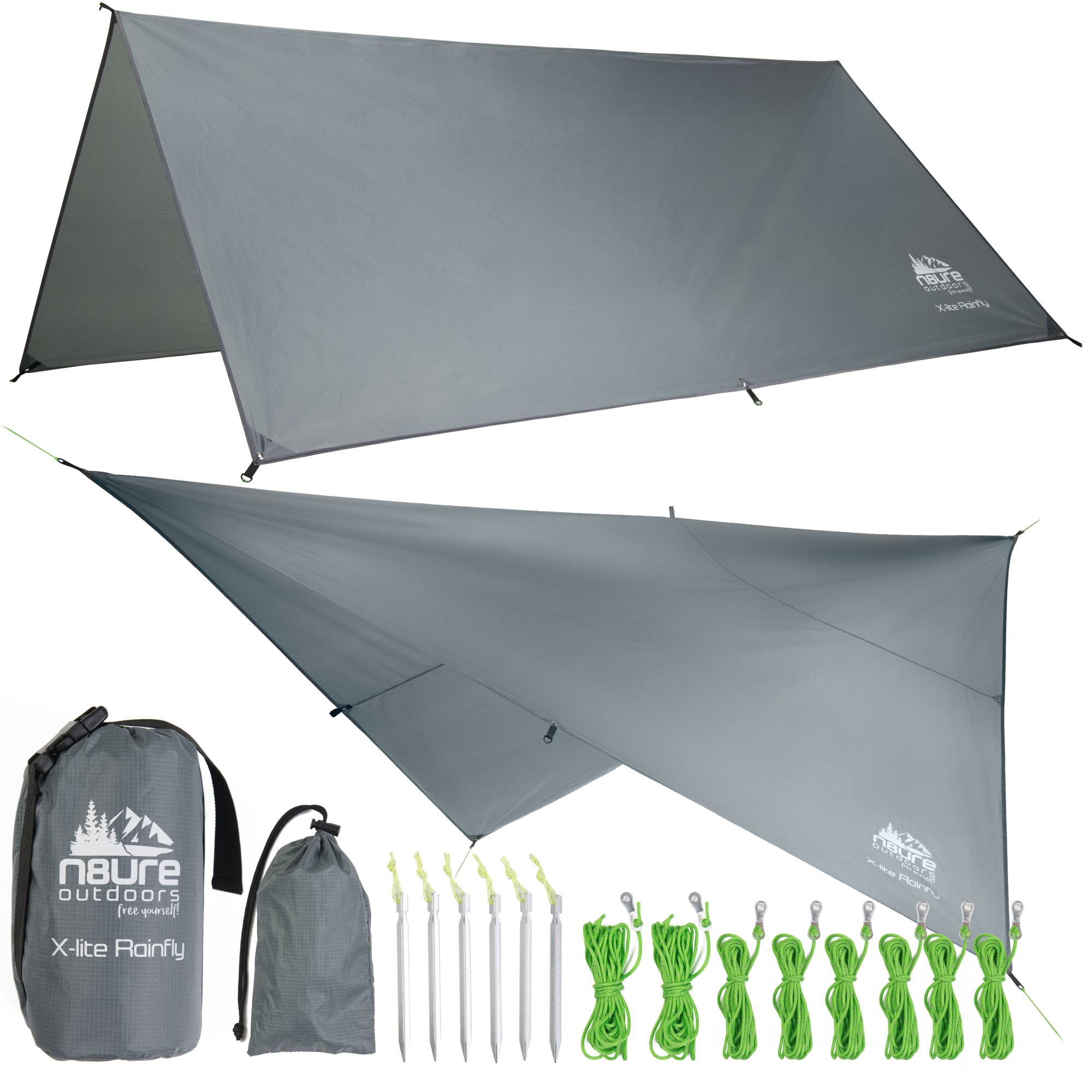 Camping 10'x10' Rain Fly Tarp Large Ripstop Nylon Waterproof Outdoor Tent Shelter Ultralight Hammock Camp Backpack Hike Accessory Bushcraft Survival Gear Includes Stakes Ropes Stuff Sack