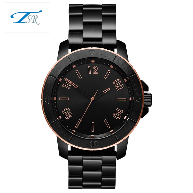 New stylish customised your own logo stainless steel strap quartz wrist watches mens