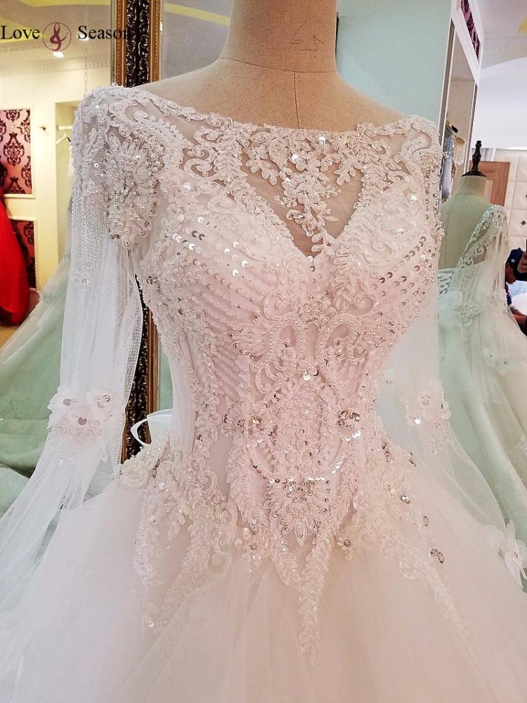 LS66842 o-cuello v-back con arco vestido de novia de encaje de manga ...