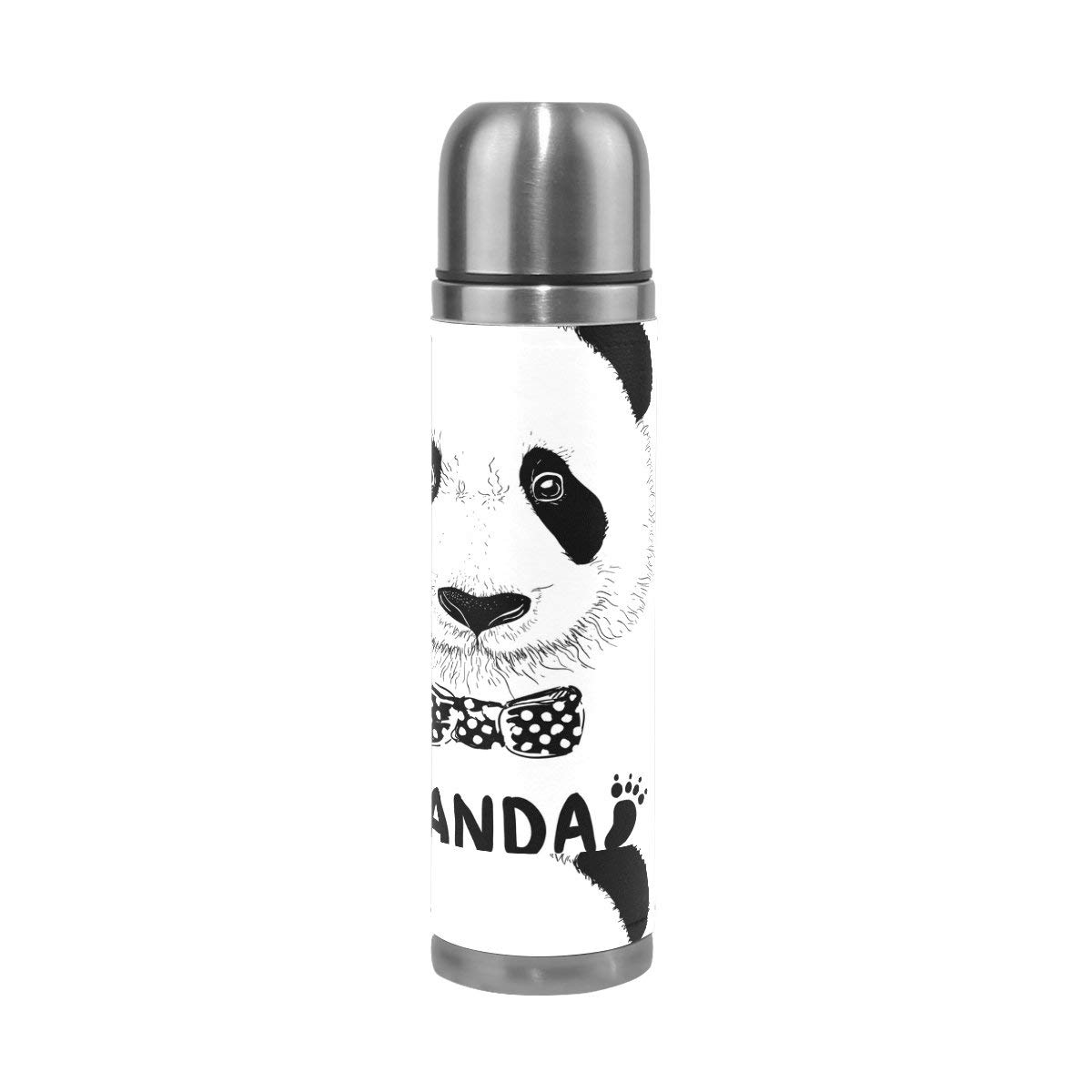 ALAZA Panda Footprint Stainless Steel Water Bottle Vacuum Insulated Thermos Double Wall Flask Genuine Leather Cover 17 OZ
