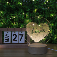 Love Heat Shape USB 5V Wood Round Lamps Night Light With USB Port