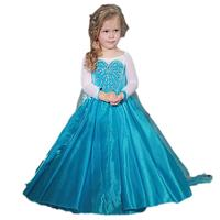 Elsa Princess Dress, long Sleeve Frozen Snow Girl cosplay Party Dress princess Tutu Dress for Birthday Pageant Party