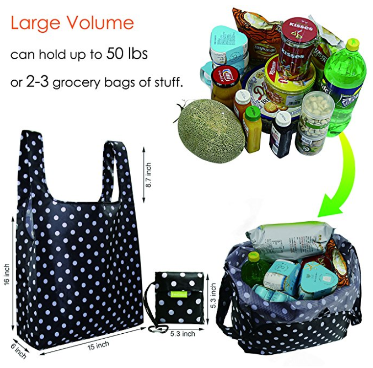 Reusable Grocery Bags With Cute Designs Foldable Ping Tote Fits In Pocket