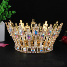 Luxurious handmade accessories beautiful full round rhinestone crown pageant