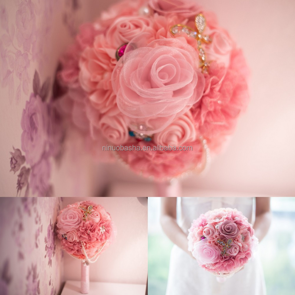 Dramatic Wedding Bouquet Pink Colored Bouquets For Bridal Holders