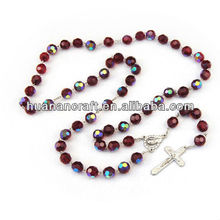 religious jewelry faceted holy glass bead rosary chain for christian