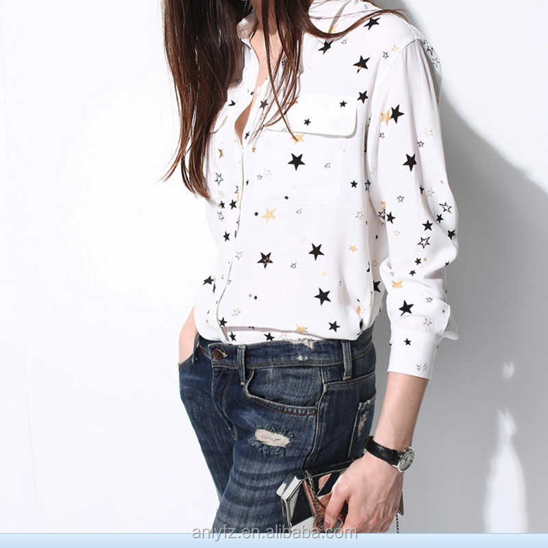 Women's star pattern single-breasted long-sleeve cotton shirt women apparel traditional german clothing