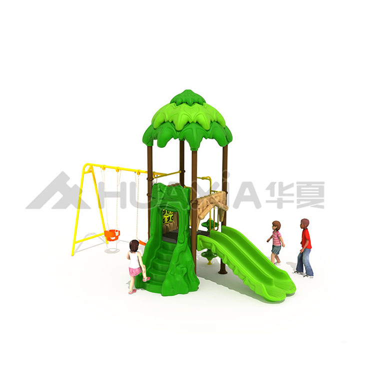Vasia Plastic Forest Kids Play Outdoor Playground Amusement Park with Slide and Swing For Sale