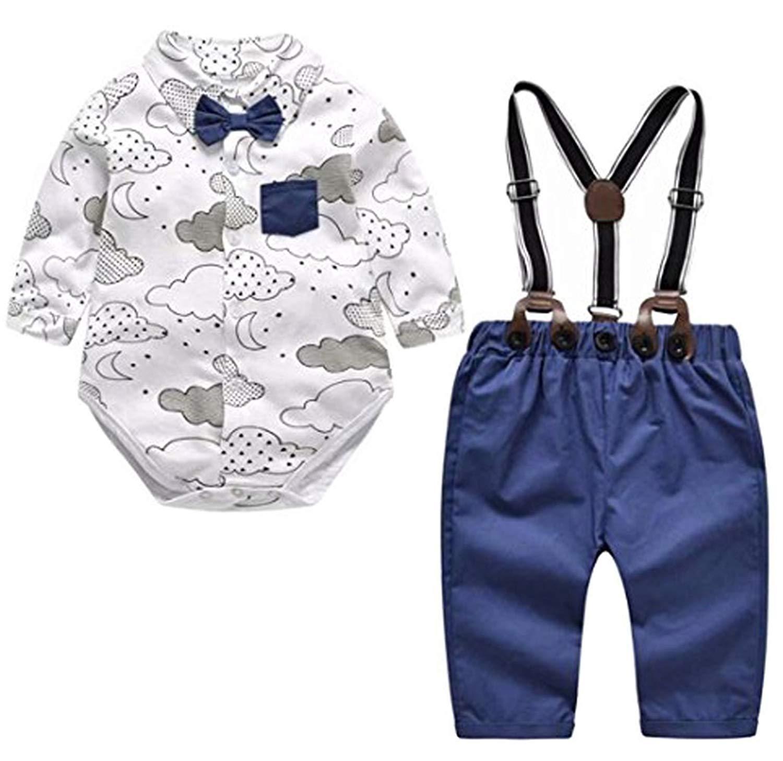 993fd141fb76 Get Quotations · Newborn Boys Gentleman Bowtie Cloud Print Romper Tops+Bib  Pants Ovealls Outfits