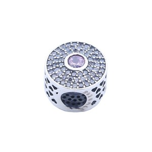 SJ Girls Accessories SJBH002 Fashion Full Simulated Gemstone 925 Sterling Silver Round Bead Charm for Bracelet