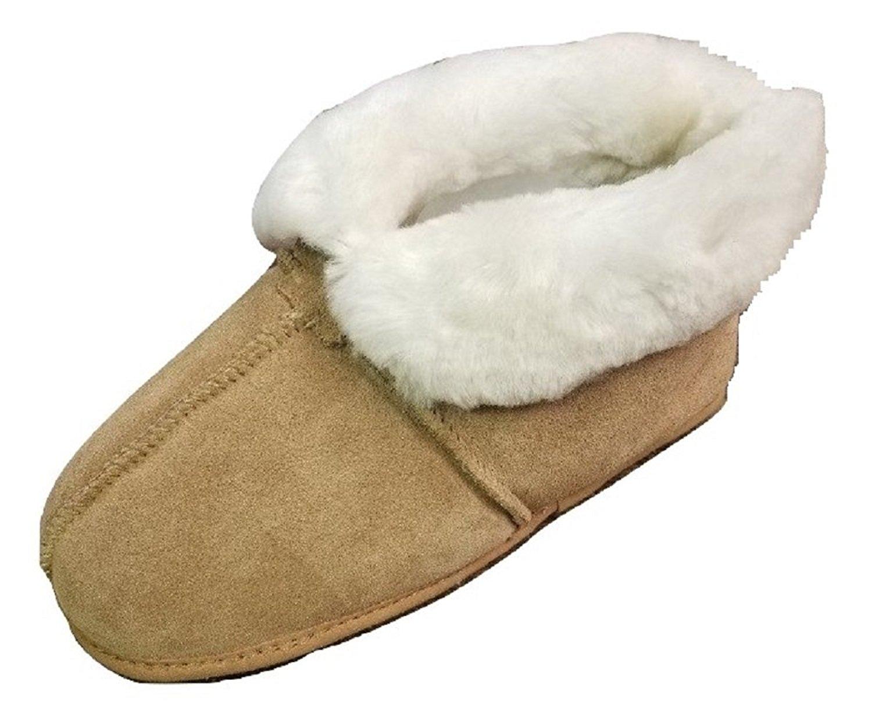 aa14adb04889 Get Quotations · Men s Premium Genuine Australian Sheepskin Slippers Soft  Sole Slip On Loafers Booties (Brown