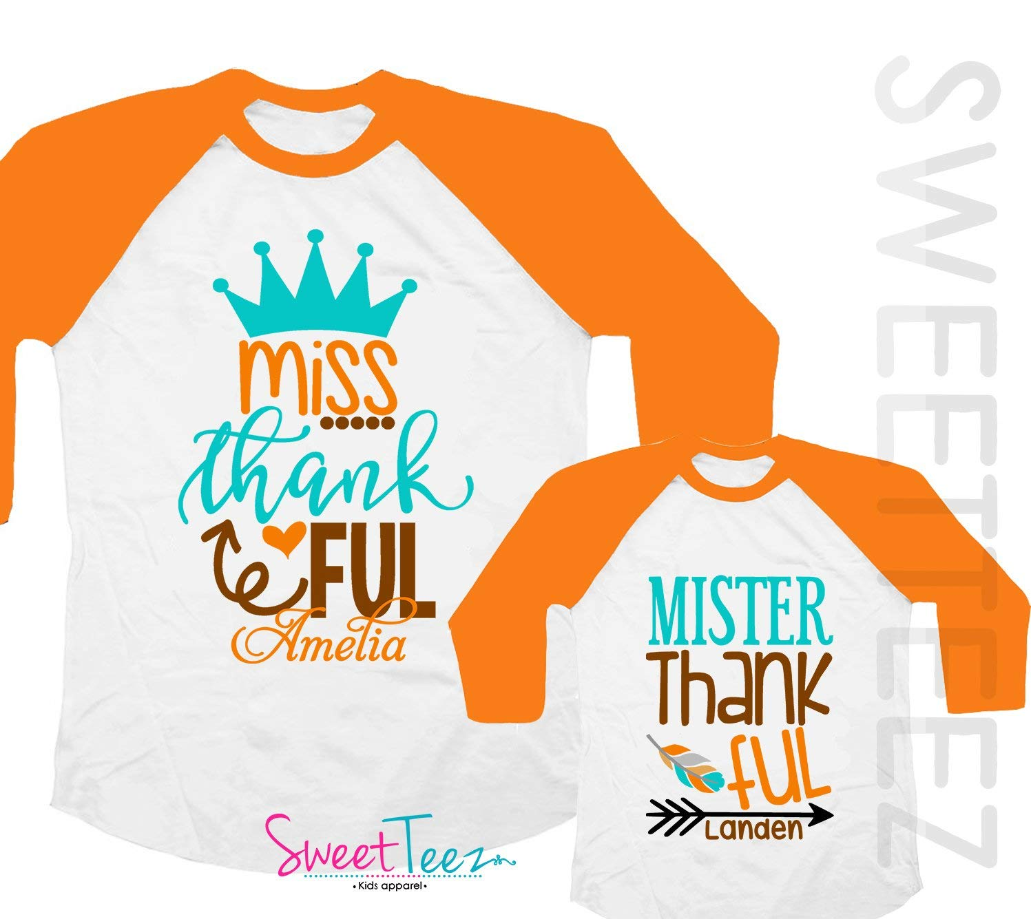 5bccd9ad3 Get Quotations · Thankful Shirt Set Miss Thankful Mister Thankful Set  Personalized Shirt Personalized Due Date for Fall and