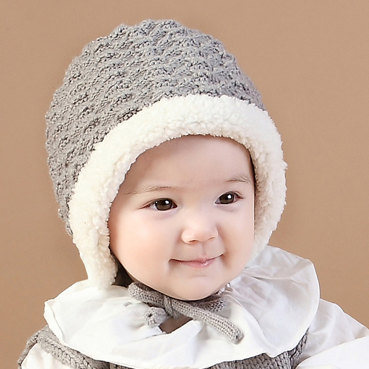 B22024a Korean Baby Winter Hats Cute Baby Warm Velvet Knitting Caps ... b52b3f06c99