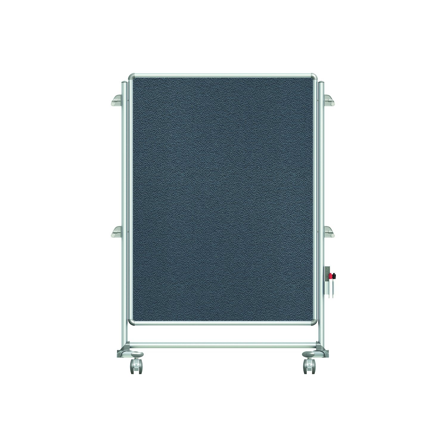 "Ghent 57-3/8"" x 40-3/8"" Nexus Jr. Partition Mobile Fabric Bulletin Board, Double-Sided, Gray (NEX223FFP-91)"