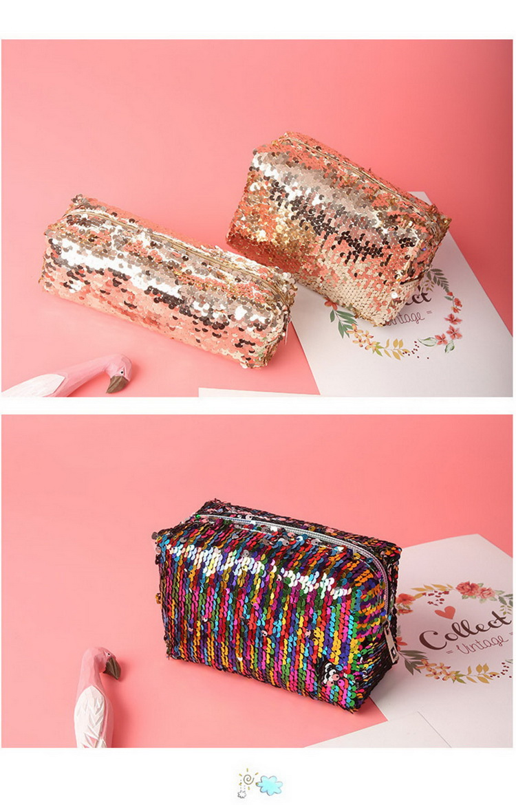 New Fashion Creative Sequin Cosmetic Bag Simple Zipper Makeup Bag