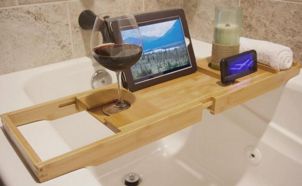 Vasca Da Bagno Metallo : Vassoio di bambù vasca da bagno caddy con l estensione lati tazza