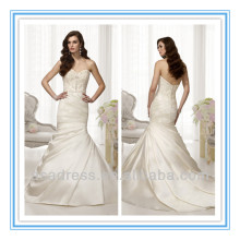 Satin and Features A Trumpet Silhouette with Gorgeous Fan Pleating on the Skirt Bridal Wedding Dress China (WDES-1045)