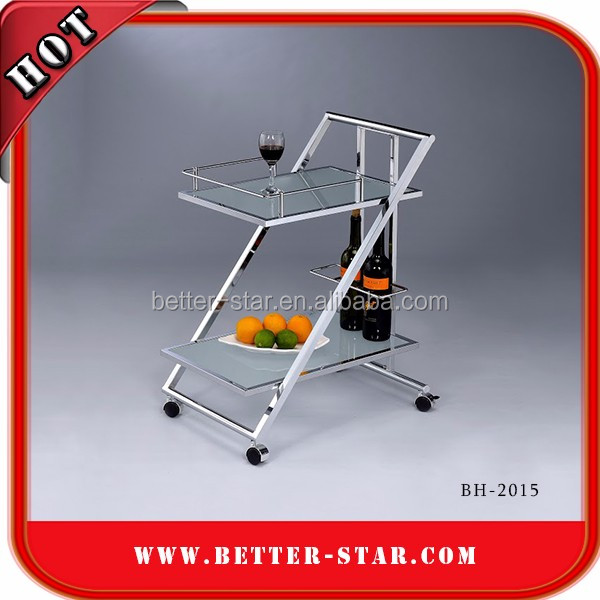 Wholesale 2-tier Square Tube Stainless Steel Food Service Trolley,Kitchen Cart,Espresso Cart For Sale