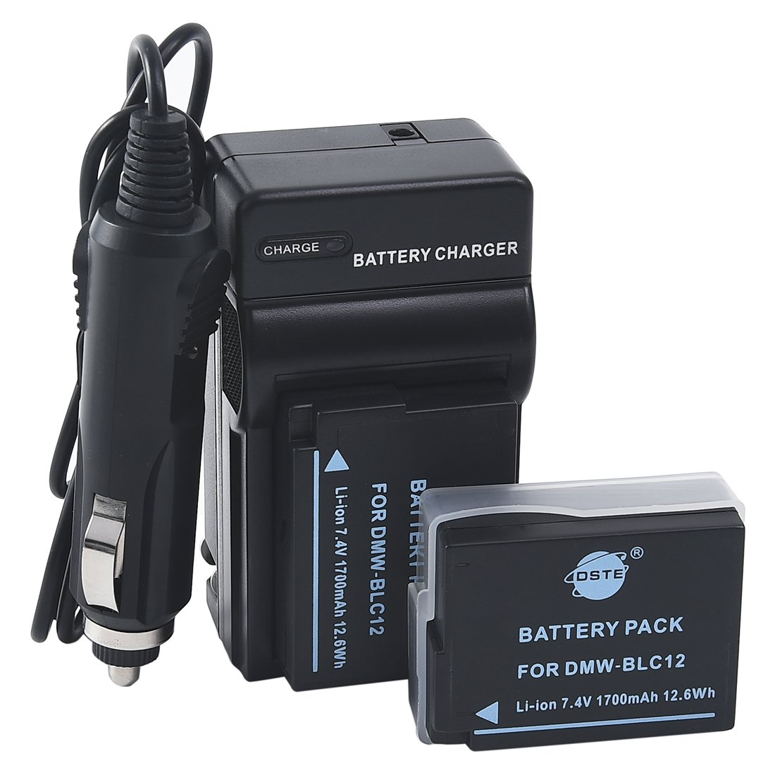 DSTE 2x DMW-BLC12 Battery + DC114 Travel and Car Charger Adapter for Panasonic Lumix DMC-G5 G6 G7 GH2 GX8 FZ200 DMC-FZ2500 DMC-FZ2000 Leica Q Camera as DMW-BLC12E BP-DC12E