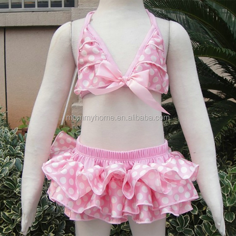 Wholesale sunbath ruffled pink polka dots smocked baby swimsuits M5050725