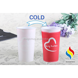 Food Grade Promotional Pillar Magic Cup Color Changed Plastic Cups