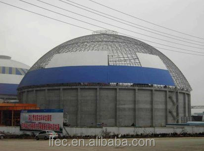 prefabricated hot dip galvanized space frame steel storage shed for dome coal yard
