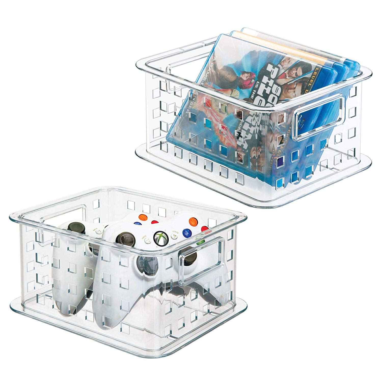 mDesign Plastic Stackable Household Storage Organizer Container Bin with Handles - for Media Consoles, Closets, Cabinets - Holds DVD's, Blu Ray, Video Games, Gaming Accessories - 2 Pack, Clear