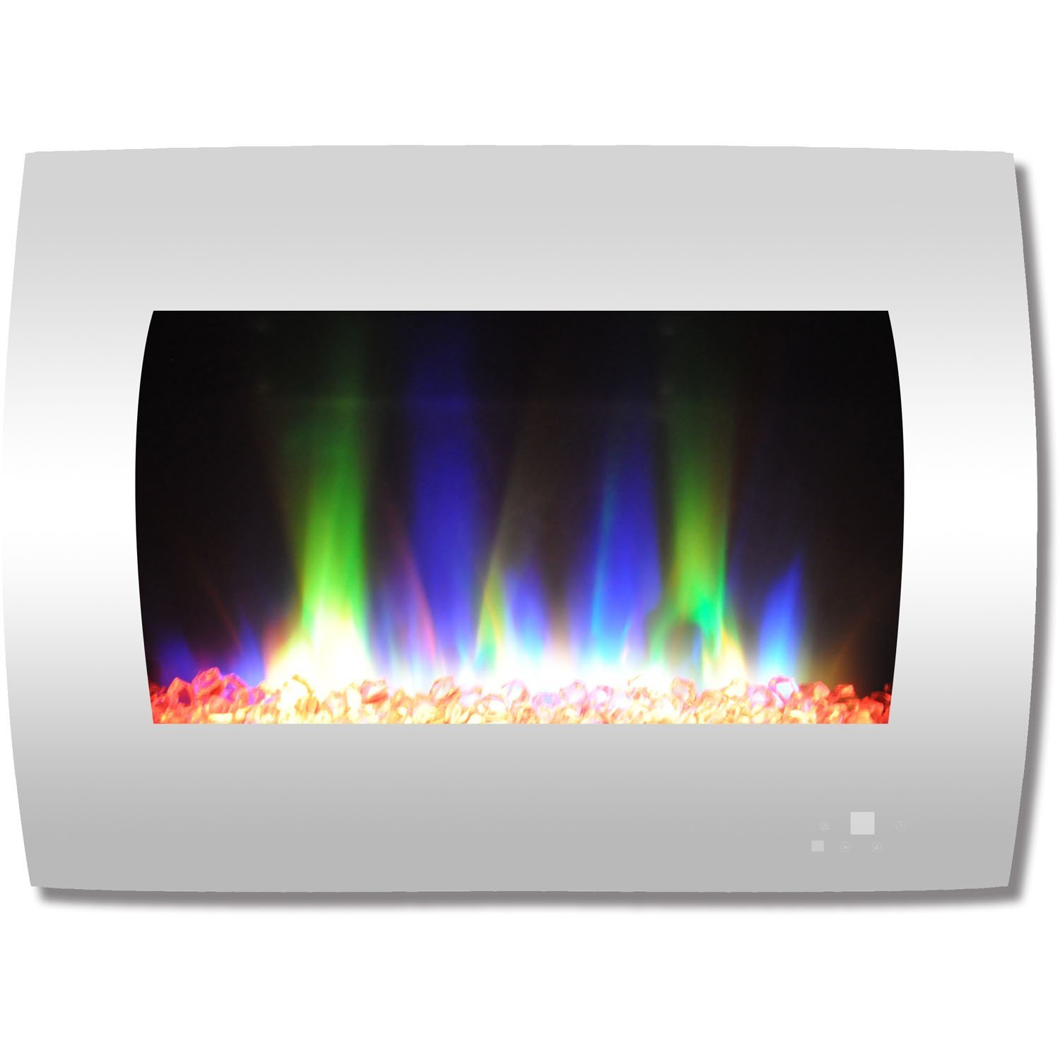 Cambridge CAM26WMEF-1WHT 26 In. Curved Wall-Mount Electric Fireplace in White with Multi-Color Flames and Crystal Rock Display