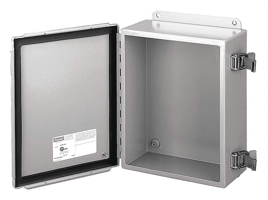 "8""H x 6""W x 4""D Metallic Enclosure, Stainless Steel, Knockouts: No, Screwdown Clamps Closure Method"