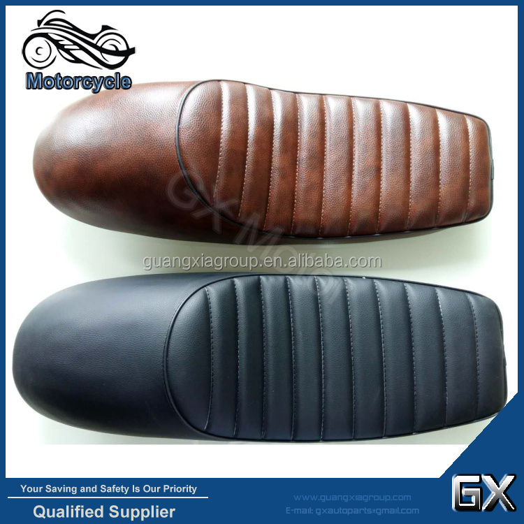 Motorcycle Seats, Cafe Racer Leather Seats Hump Leather Vintage Hard ABS With Mounting