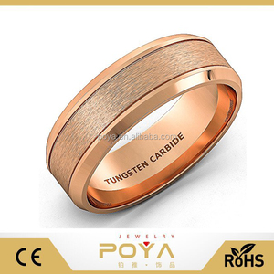 POYA Jewely 8mm Mens Wedding Band Rose Gold Tungsten Ring Brushed Double Groove Beveled Edge Comfort Fit
