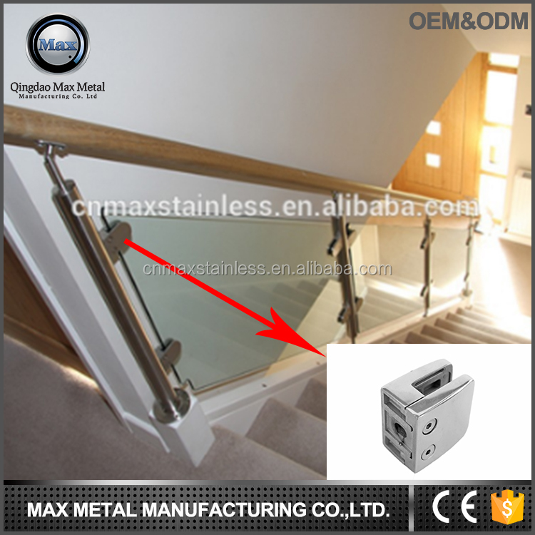 Balustrades design stainless steel glass clamp glass railing clamp metal clip in good quality