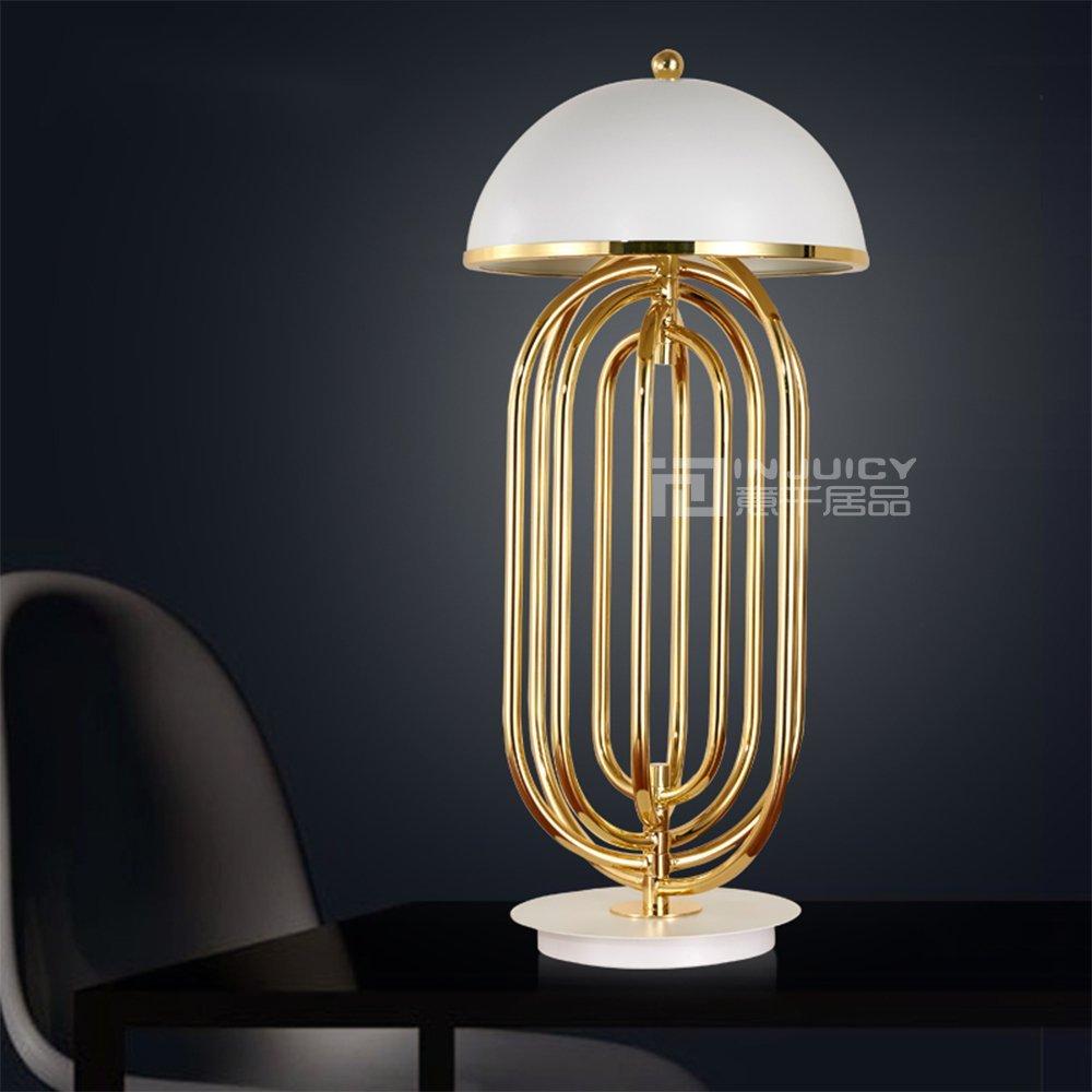 Injuicy Lighting Nordic Modern E14 LED Iron Aluminium Table Lamp Desk Light Bedroom Home Decor (White Gold)