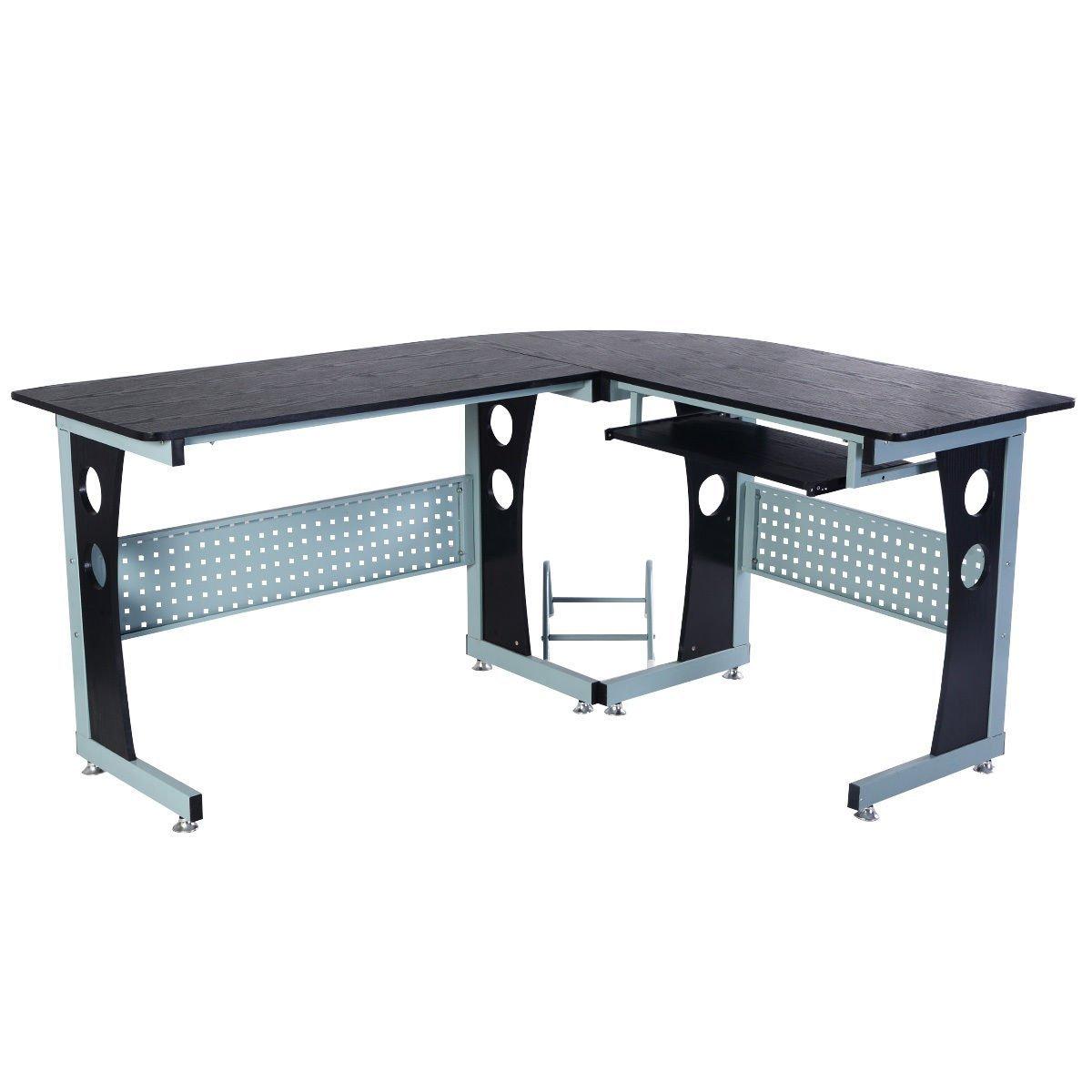Tangkula Corner Computer Desk PC Table Workstation Home Office Wood L-Shape Black