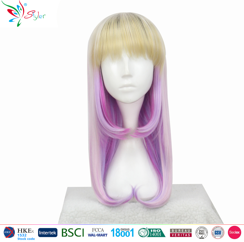 Styler Brand Wholesale doll wig products synthetic long purple cosplay hatsune wig
