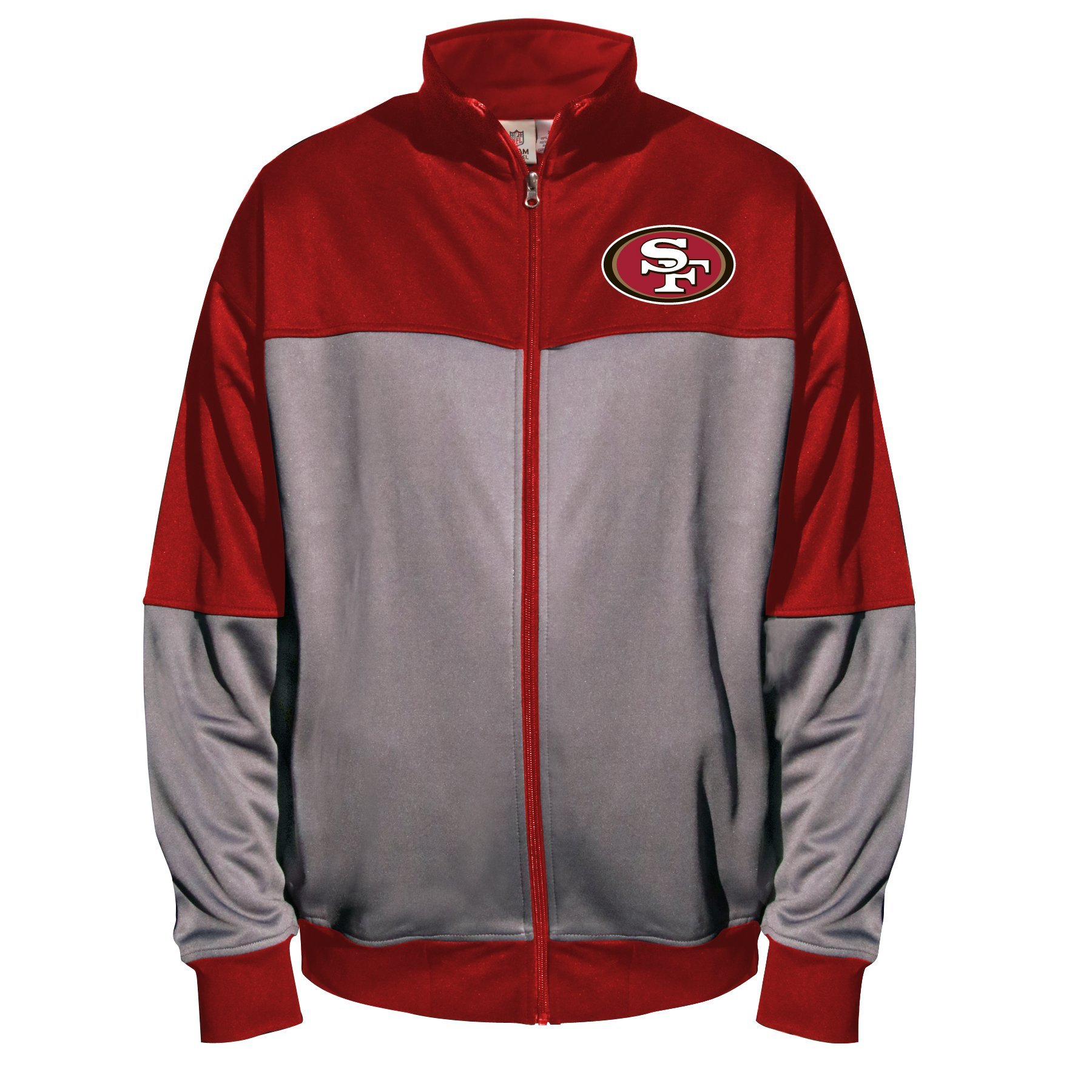 NFL San Francisco 49Ers Unisex Poly fleece Track Jacket, CHARCOAL/Red, 2X/Tall