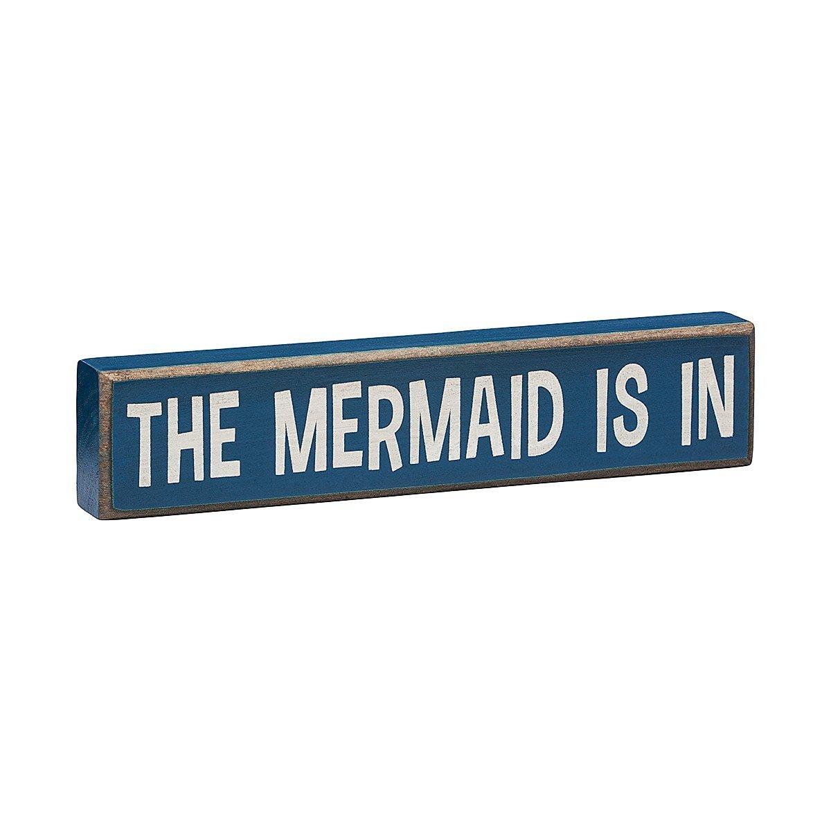 The Mermaid Is In - Vintage Coastal Mini Wood Sign - 8-in