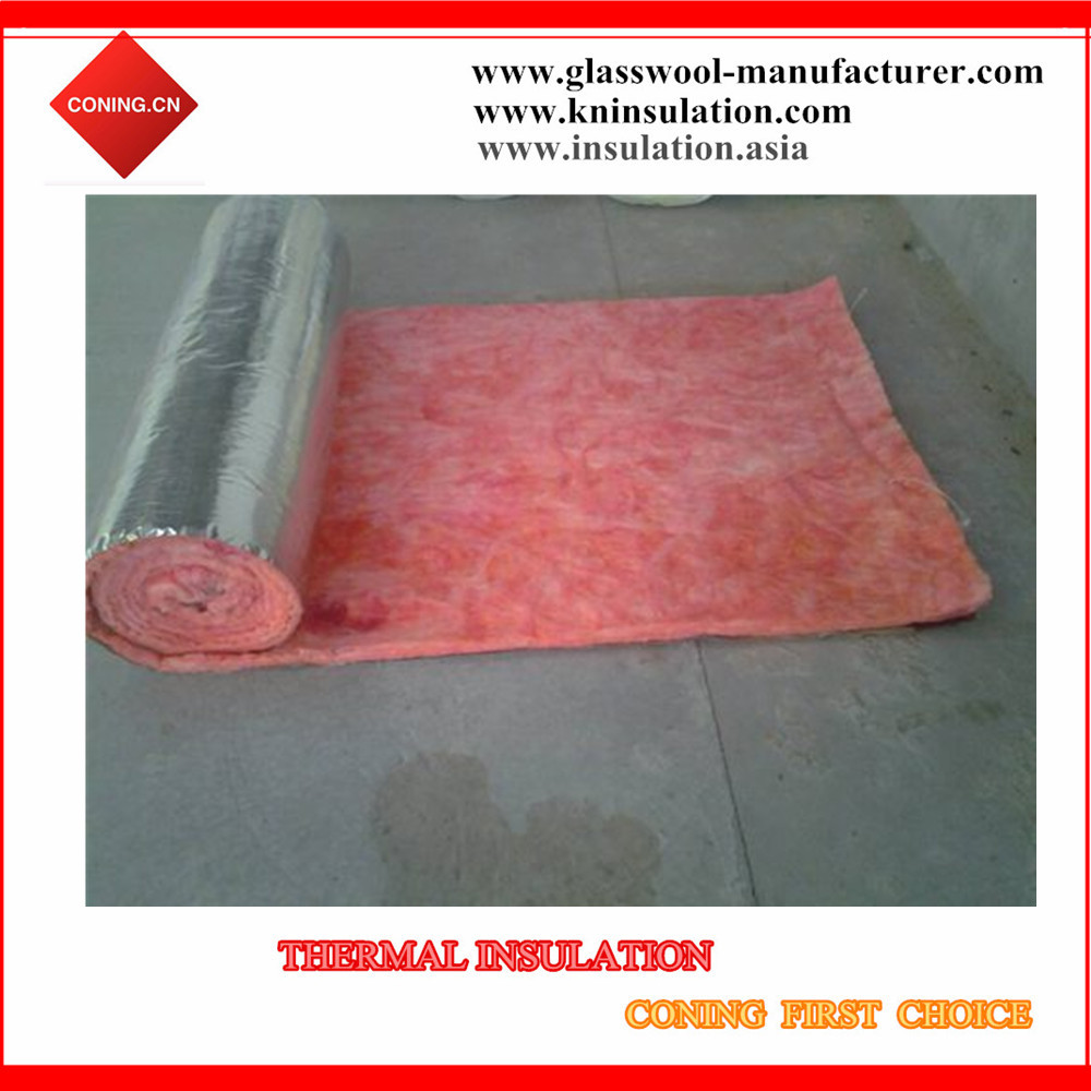 Fire resistant & retardant pink glasswool blanket with aluminum foil