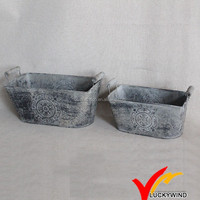 Wholesale Rectangle Set of 2 Shabby Chic Zinc Metal Planter