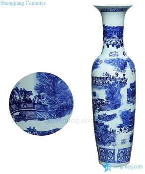 Antique Chinese 60inch Floor Ceramic Porcelain Flower Vase Tall For Office Decor