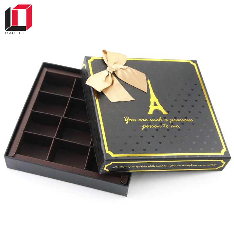 Hot stamping logo luxury square empty chocolate packaging box with ribbon