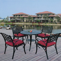 Premium Round Restaurant Hideaway Knock-down Dining Table and Chair Set