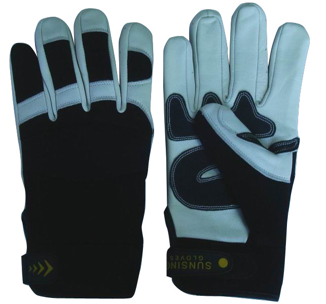 Customized Heavy Duty Anti-Slip Leather Mechanic Work Gloves