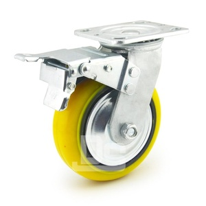 "6 inch 6"" Heavy Duty Industrial PU Caster Wheel with Total Locking Brake"