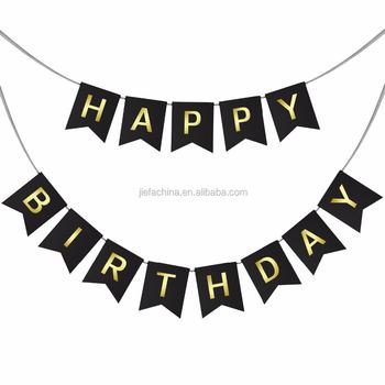 ハッピーバースデー看板誕生日バナーサプライヤーゴールド印刷紙誕生日