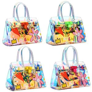 handbags for women 2018 leather PU PVC Jelly Bag & Laser Handbag transparent with floral 225932