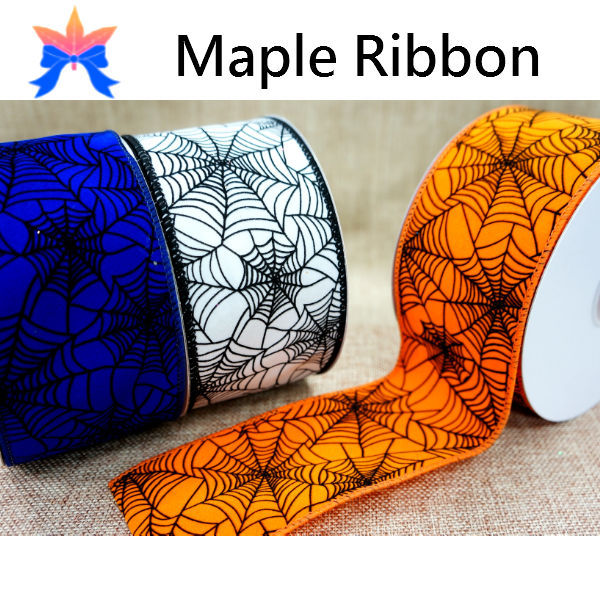 2015 Spider Web Halloween wired Ribbon