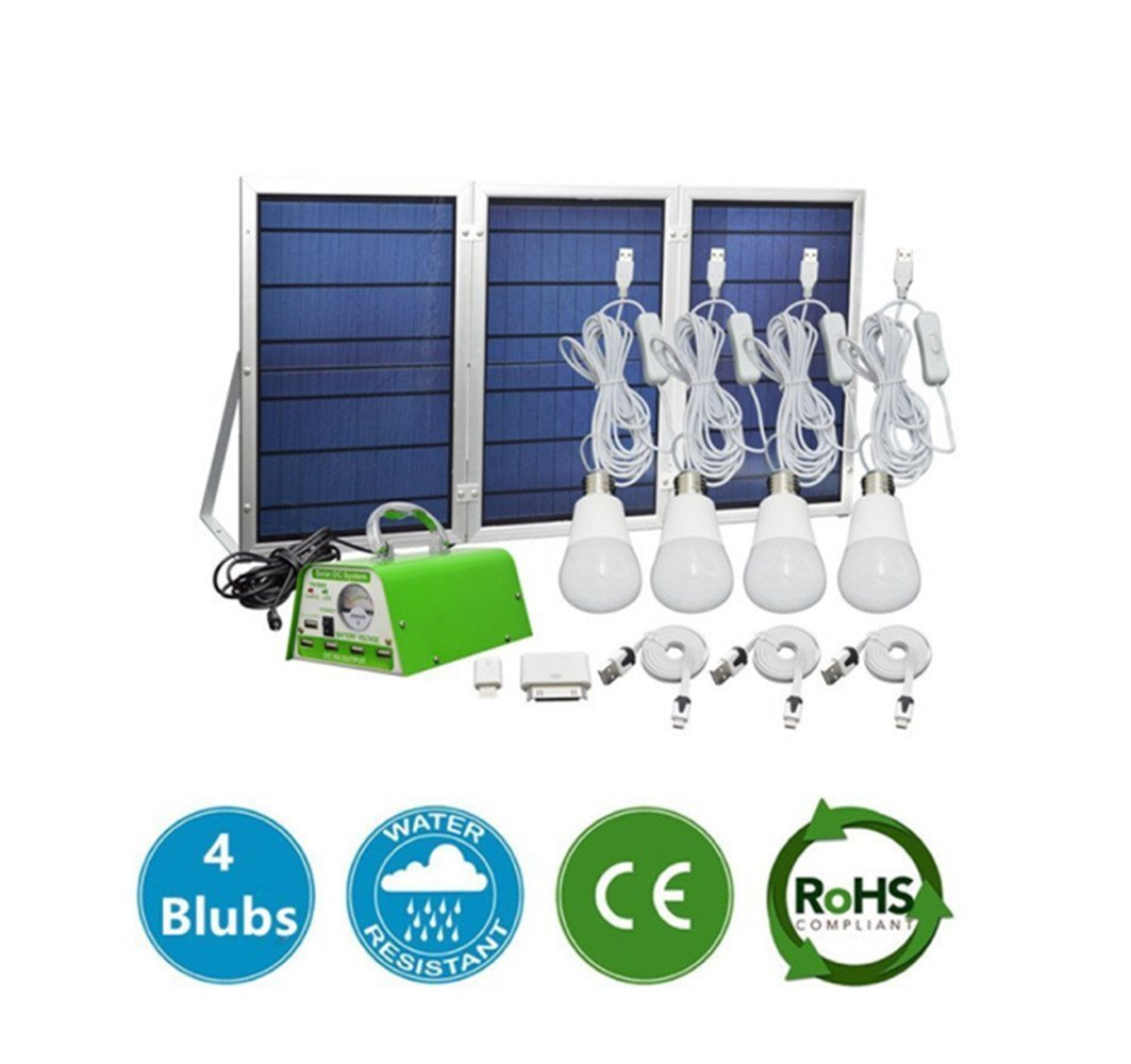 YINGHAO 30W Panel Solar Home DC System Kit, Camping Fishing Outdoor Solar Powered LED lamps, Including Android and iphone USB Charger & 4 LED Light Bulb, 5V 2A Output Can Charge Power Bank