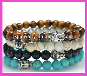 Wholesale Popular 4 Colors Natural Beads Buddha Head Bracelet Tiger Beads Turquoise Gemstone Bracelets For Men