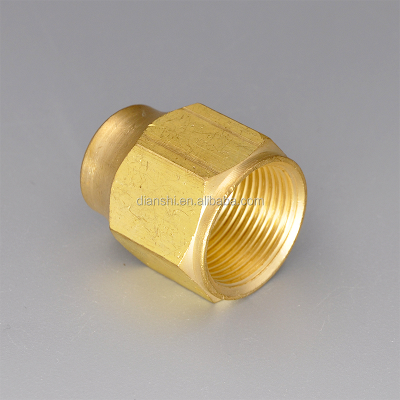 "Brass flare nut Brass flare tube fittings SAE 45 degree short flare nut 3/8"" tube OD"